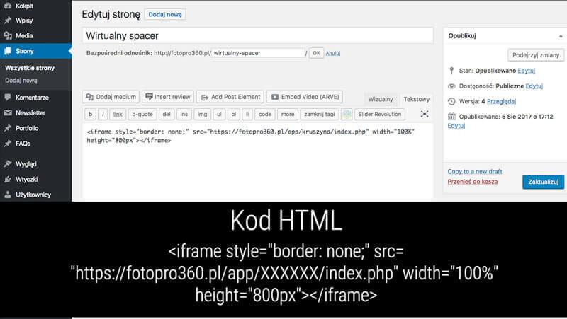 kod html instalacja spaceru na stronie