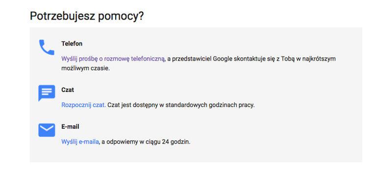 kontakt telefoniczy do google