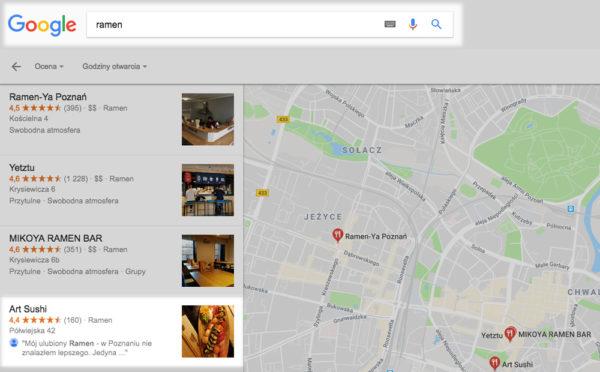 tresc opinii w mapach google widoczna w wynikach google 600x372